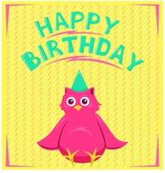 Birthday card with funny little bird in cartoon vector