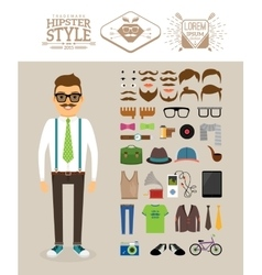 Hipster man accessories hairstyles and labels vector