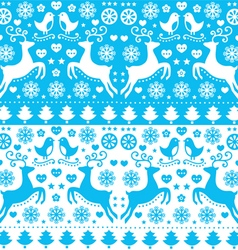Winter christmas seamless blue reindeer pattern vector