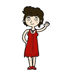 Comic cartoon hippie woman waving vector