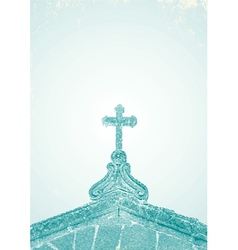 an engraving of the church vector image