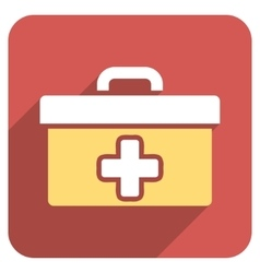 First aid toolbox flat rounded square icon with vector