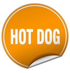 hot dog round orange sticker isolated on white vector image