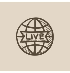 Globe with live sign sketch icon vector