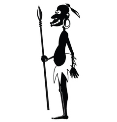 Aboriginal with spear BW vector image vector image