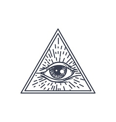 All Seeing Eye in Triangle vector image