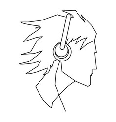 Avatar head guy young headphones outline vector