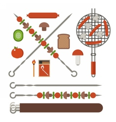 Barbecue skewer grill and vegetables vector