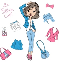 Beautiful fashion girl top models vector