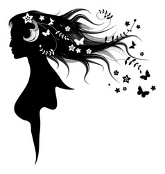 beautiful girl with dispelled hair and vector image