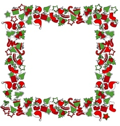 blank christmas frame with traditional symbols vector image vector image