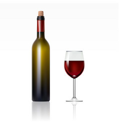 bottle with red wine and glass vector image vector image