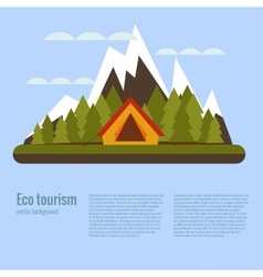 cartoon eco tourism camping concept vector image vector image