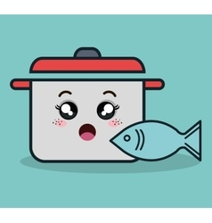 Cartoon pot and fish facial expression isolated vector