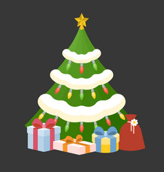 christmas tree with present box vector image