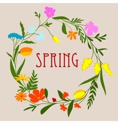 Circular spring floral wreath or frame vector image