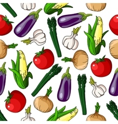 Colorful seamless pattern of vegetables vector image vector image