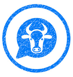 Cow message balloon rounded grainy icon vector