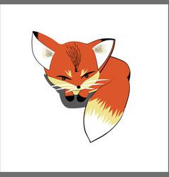 Cute fox lying on the ground vector