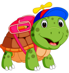 Cute turtle go to school vector