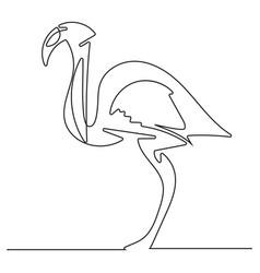 Doodle line flamingo vector