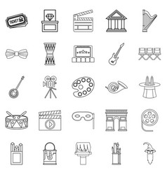 Exhibition icons set outline style vector