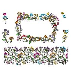 floral frame elements vector image vector image
