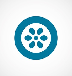 Flower bold blue border circle icon vector