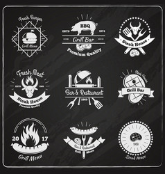 Grill restaurant vintage emblems vector