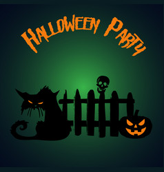 halloween party pumpkin and zombie cat under the vector image vector image