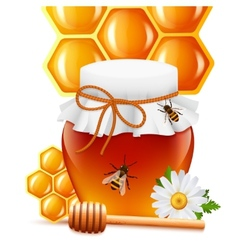 Honey jar with dipper and comb print vector