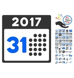 Last 2017 month day icon with 2017 year bonus vector