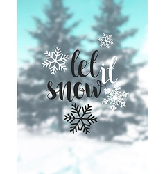Let it snow blurred background with snow trees vector