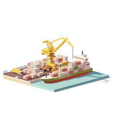Low poly port container terminal and ship vector