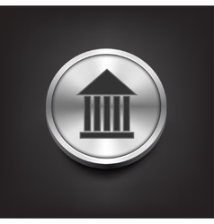 Museum flat simple icon on silver button vector image