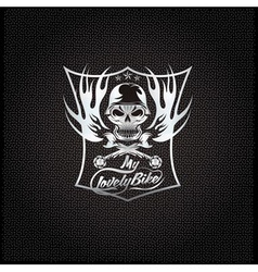 My lovely bike auto silver crest with skull in vector