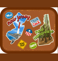new jersey new hampshire travel stickers vector image vector image