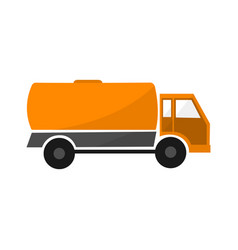 Orange tank car flat industrial automobile with vector