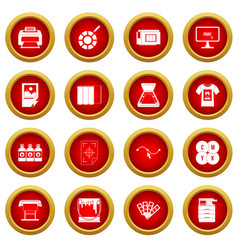 Printing icon red circle set vector