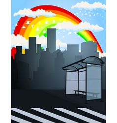 rainbow over a city2 vector image vector image