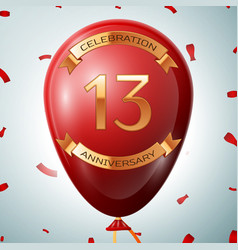 Red balloon with golden inscription thirteen years vector