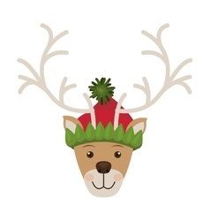 Reindeer head with christmas woolen hat vector
