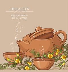 rooibos tea in teapot and tea bowls vector image