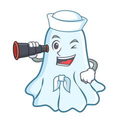 sailor with binocular cute ghost character cartoon vector image vector image