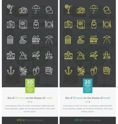 Set Icons on the Theme of Travel and Vacation vector image vector image