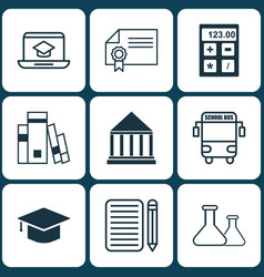 Set of 9 school icons includes home work vector