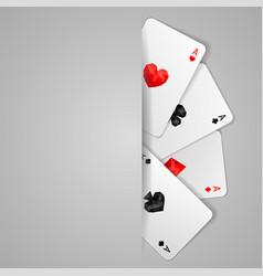 Set of four aces playing cards suits vector