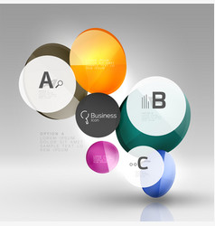 Shiny circles with text in 3d space vector
