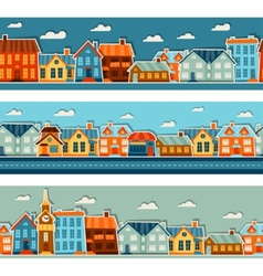 Town seamless patterns with cute colorful sticker vector image vector image