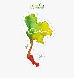 Travel around the world thailand watercolor map vector